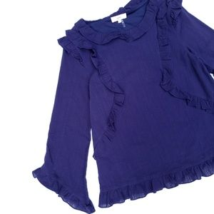 Entro Plum Ruffled Bell Sleeve Lined Textured Top